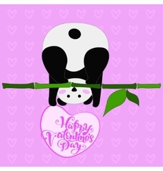 Greeting card for valentine s day panda vector