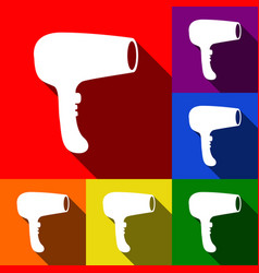 hair dryer sign set of icons with flat vector image vector image