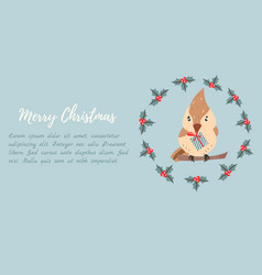 holiday background with cute bird vector image