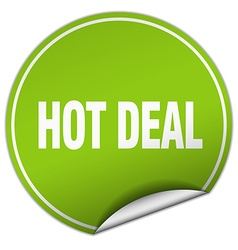 Hot deal round green sticker isolated on white vector