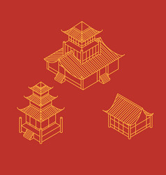 Isometric pagoda house chinese landmark vector