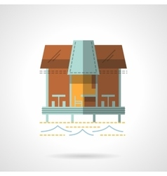 Jetty with cafe flat icon vector