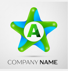 Letter a logo symbol in the colorful star on grey vector