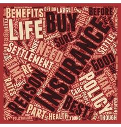 Life insurance settlement text background vector