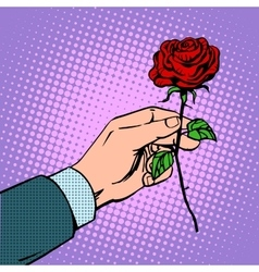 Man gives flower rose vector