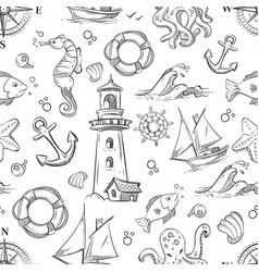 nautical doodle seamless pattern with sea vector image