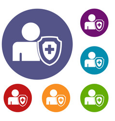 Person and medical cross protection shield icons vector