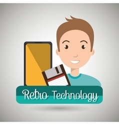 Person retro technology system vector
