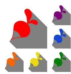Radish simple sign set of red orange yellow vector