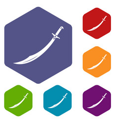 scimitar sword icons set hexagon vector image vector image
