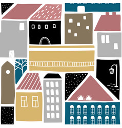 seamless pattern with old town buildings vector image