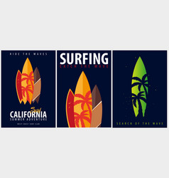 set of surfing graphic with palms and vector image