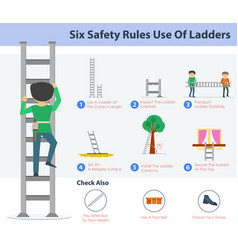 Six safety rulers use of ladders vector