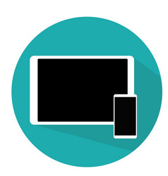 Tablet and phone flat modern design blue vector