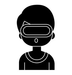 virtual reality - man with 3d glasses icon vector image