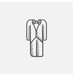 Wedding tuxedo sketch icon vector