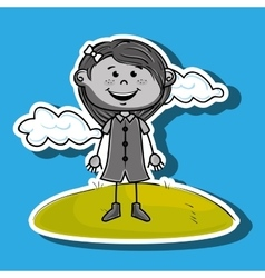 Kid cloud meadow icon vector