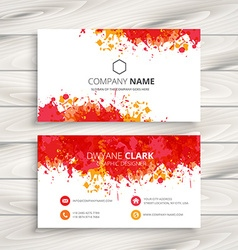 Red ink splash business card vector