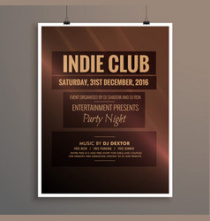 Indie club dj party night flyer banner template vector