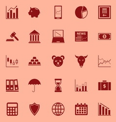 Stock market color icons on red background vector