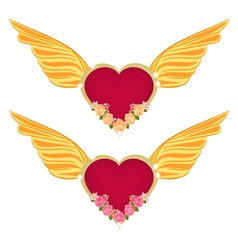 Heart with wings and roses vector