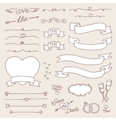 wedding vintage set of design elements vector image