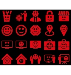 Tools gears smiles management icons vector