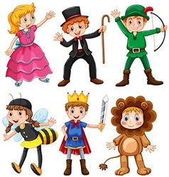 Boys and girls in fancy costumes vector