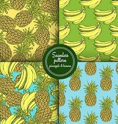 Sketch set of patterns with pineapple and banana vector