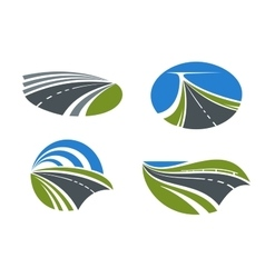 Roads and highways icons with nature landscapes vector image