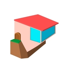 Cottage on the edge of a cliff cartoon icon vector