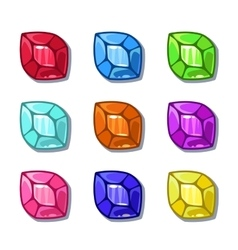Funny cartoon colorful gems set vector image
