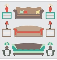 Sofas set flat  side table vector