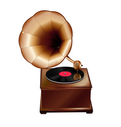 ancient gramophone on a white background vector image vector image