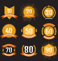 Anniversary banner logo set vector image vector image