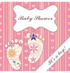 Background with feet baby shower girl vintage vector image