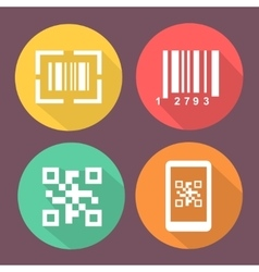 Bar and qr code icons smartphone symbols with vector