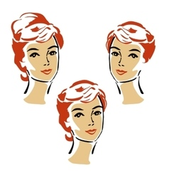 Beautiful elegant woman in retro style vector image vector image