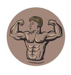 bodybuilder in round vector image
