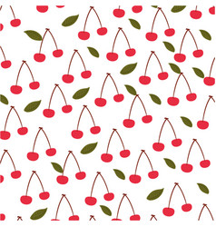 Cherry tropical and exotic fruit pattern vector
