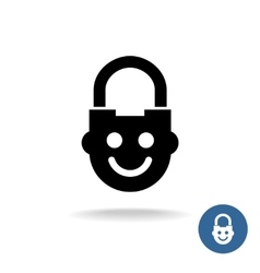 Child lock icon with smiley kid face vector