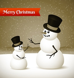 Christmas card with two snowmans vector image