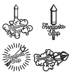 color vintage fireworks shop emblems vector image vector image