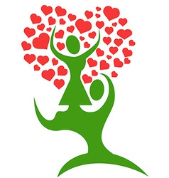 couple tree with loving hearts vector image vector image