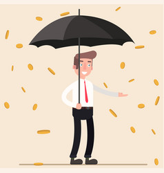Cute cartoon office worker with umbrella standing vector