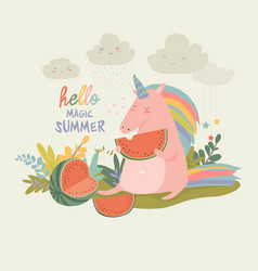 cute unicorn with watermelon vector image vector image