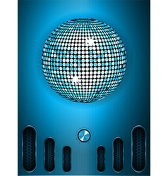 Disco ball with dial on blue metallic portrait vector image