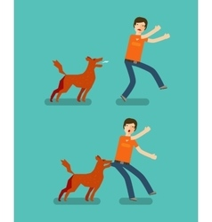 Dog bite man Cartoon vector image