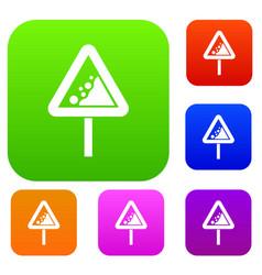 falling rocks warning traffic sign set collection vector image