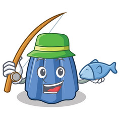 Fishing jelly character cartoon style vector